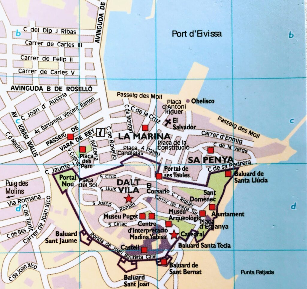 Ibiza stad Eivissa kaart